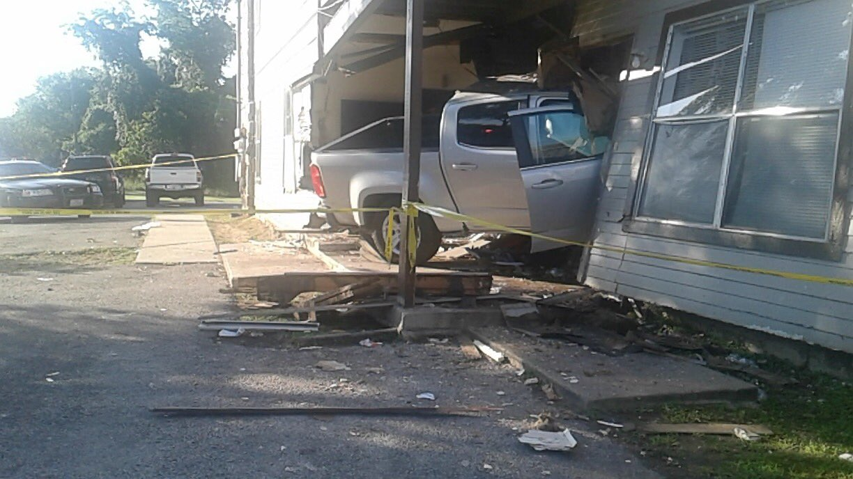 One Injured When Truck Goes Into Apartment